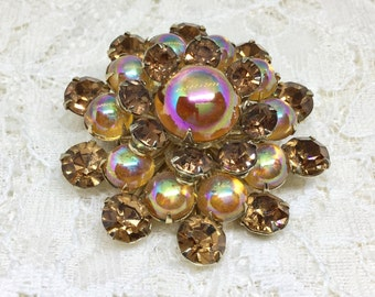 Rhinestone Flower Brooch/Topaz Colors/Vintage Brooch Pin/Topaz Color Rhinestones/Color AB Cabachon Center/Layered Flower/Vintage 1960s
