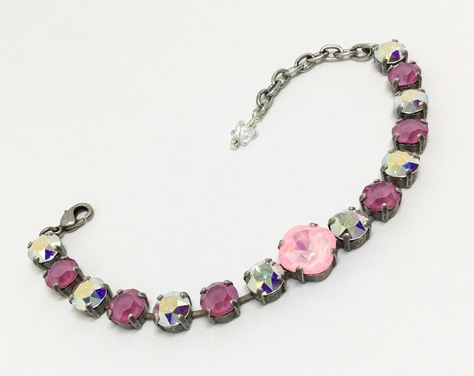 Handcrafted Swarovski Crystal Bracelet, 8mm PInk & Clear AB Crystals, 12mm Faceted Cushion Cut Pink Center Crystal, Sparkly Bracelet