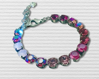 Handmade Bracelet with Swarovski Crystals, Eight Shades of Pink, Super Sparkly