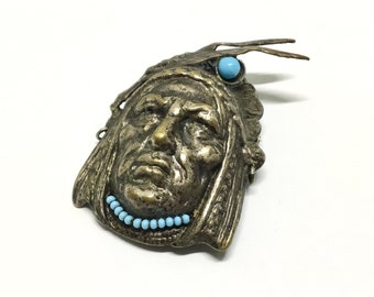 Vintage Indian Head Brass Stamping, Turquoise Colored Glass Beads, Brass Ring Earrings, Wired Beads Necklace,
