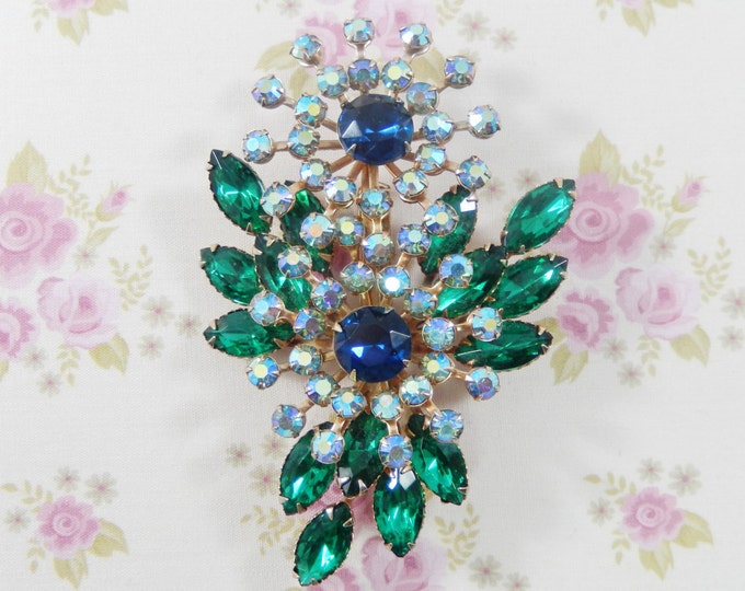 Vintage Large Beau Jewels Green Blue AB Rhinestones Flower Brooch