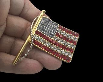 Vintage Kenneth Jay Lane Rhinestone Flag Brooch/Pendant, Patriotic Sparkly Flag, Designer Brooch