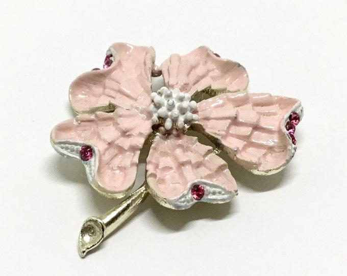 Vintage Pink Enamel Flower Brooch, Fuchsia Rhinestone Accents,  Goldtone Setting, Floral Brooch