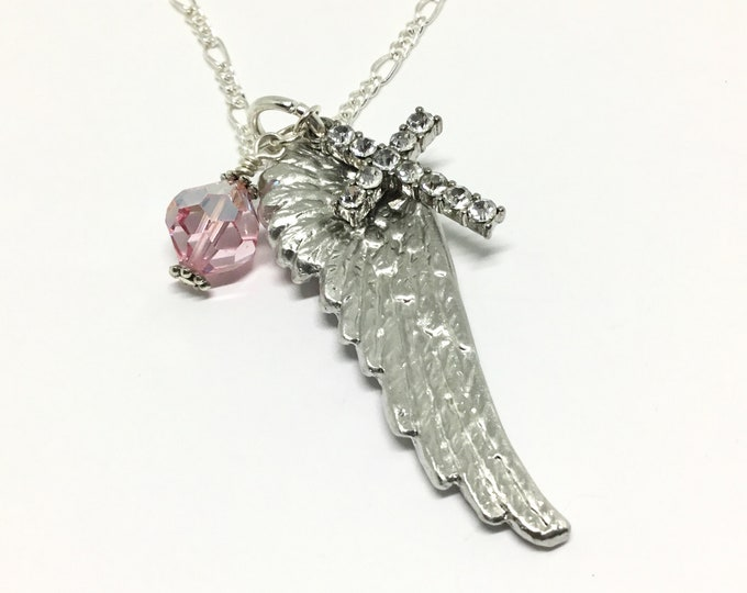 Handcrafted Angel Wing Pendant, Pewter Angel Wing, Pink Swarovski Bead, Crystal Cross