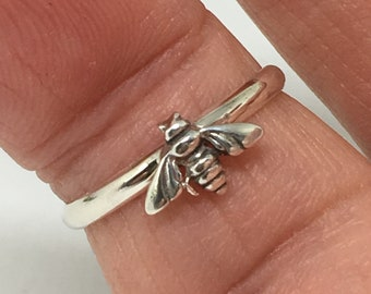 Dainty Bee Ring, Handmade in USA, 925 Sterling Silver, Honey Bee