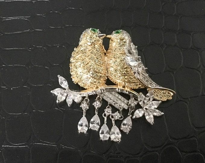 Unique CZ Lovebirds Brooch Pendant, Wedding Brooch, Pave CZs, Four Dangles, Bridal Bouquet, DIY Project, Super Sparkly