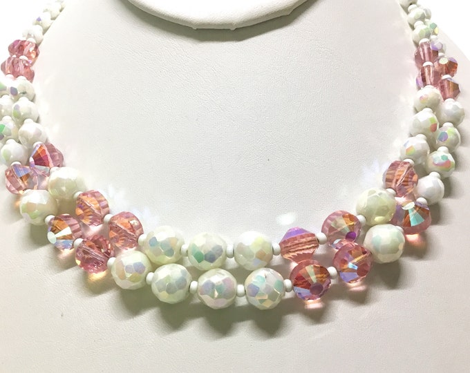 Vintage HOBE Pink and White Bead Necklace, Faceted Glass Bead, Midcentury, Double Strand