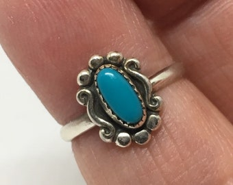 Sterling Silver Turquoise Ring/ Up cycled Ring/ Handcrafted