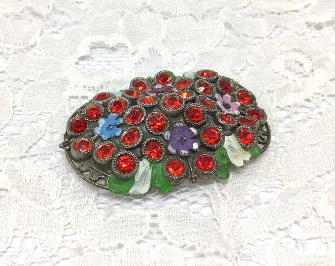 Vintage 1940s Brooch/Openwork Pot Metal/Red Rhinestones/Enamel Flowers and Leaves/Colorful BroochPin/Cherry Red Rhinestones/Costume Jewelry