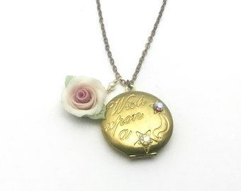 Brass Locket with Porcelain Rose, Engraved with WISH UPON A STAR,