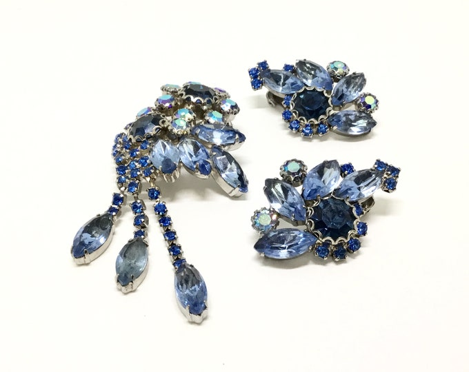 Vintage Blue Rhinestone Dangle Floral Brooch Earring Set, 1960s, Four Shades of Blue, Rhinestone Jewelry