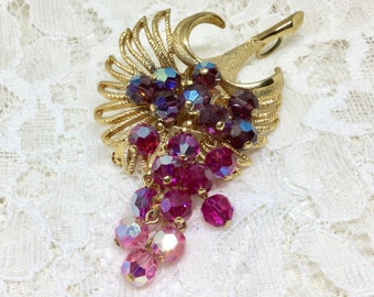 Vintage Park Lane Purple Pink Faceted Glass Bead Brooch Earring Set