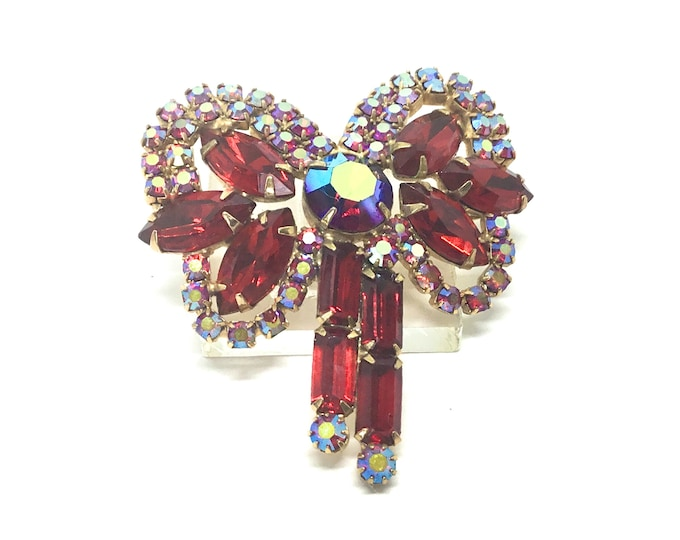 Vintage Red and AB Rhinestone Bow Brooch, Sparkly Beauty, High End Unsigned, Mothers Day Gift