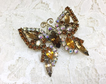 Vintage Brown Amber Rhinestone Butterfly Brooch Pin