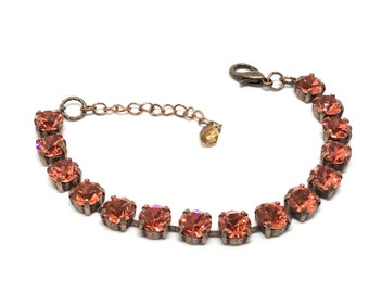 Handcrafted  Swarovski Padparadscha Color Crystal Bracelet, Sparkling 8mm Crystals, Copper Plated