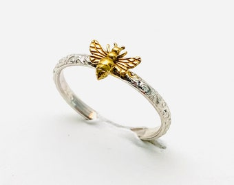 Handcrafted in USA , 24kt Gold Plated Silver Bee, Dainty 925 Sterling Honey Bee Ring