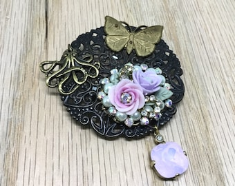 Handcrafted Brooch/Steampunk Brooch/Glam Steampunk/Octopus Charm/Butterfly Charm/Floral Piece/AB Pink Crystal Dangle/One of a Kind/ Unique