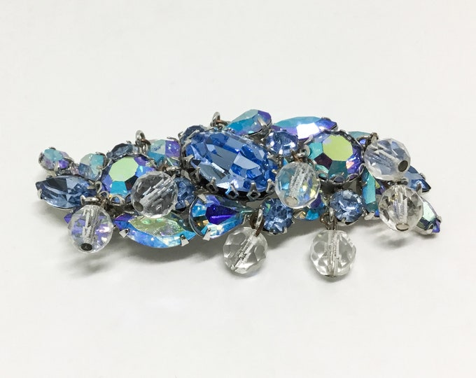 Vintage D & E Rhinestone and Bead Brooch, Dangle Faceted Glass Beads, Large Icy Blue Rhinestone Center, AB Blue Rhinestones