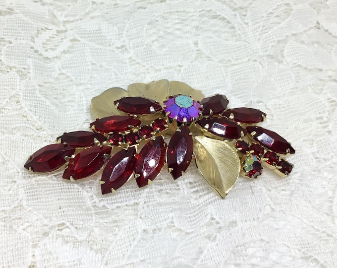 Vintage Red Rhinestone Flowers and Goldtone Leaves Brooch Pin