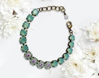 "Handmade Swarovski Crystal Bracelet, Pacific Opal Color, 6 1/2"" Length, Super Sparkly"