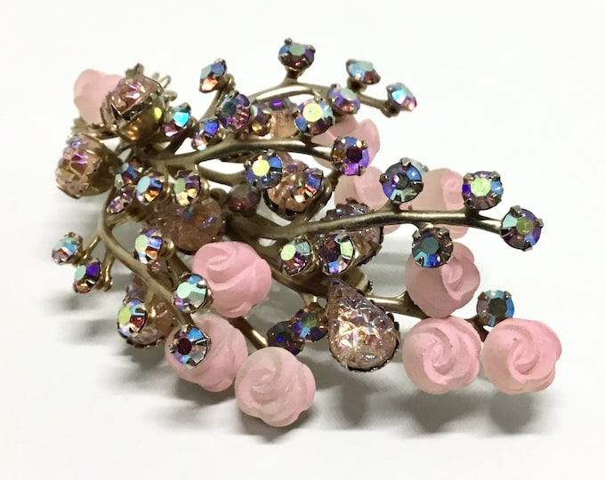 Vintage Pink Flower Spray Brooch, Pink Rhinestones, Pink Celluloid Roses, Rhinestone Jewelry, Large Floral Spray