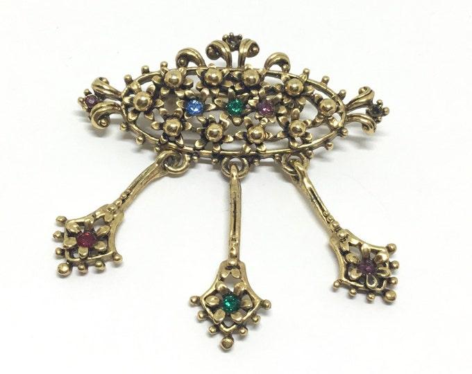 Vintage Openwork Goldtone Bead Brooch, Goldtone Flower Rhinestone Dangles, Oval Brooch, Metal Flowers with Rhinestones