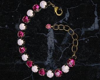 "Handmade Swarovski Crystal Bracelet, Fuchsia and Rosewater Color, 6 1/2"" Length, Super Sparkly"