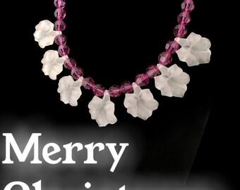 Handcrafted Swarovski Crystal and Flower Necklace, Acrylic Trumpet Bell Flowers, Swarovski Jewelry