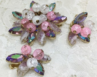 Vintage D&E Juliana Pink AB Rhinestone Crackle Bead Dangle Brooch Earring Set