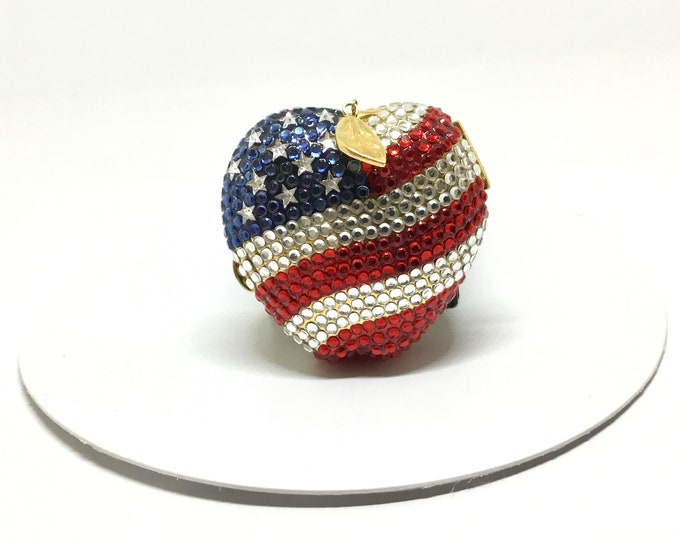 Estée Lauder Collectible Compact, New York Spirit, Apple with a USA Flag Motif, Red White Blue Swarovski Crystals, Lucidity Powder Compact