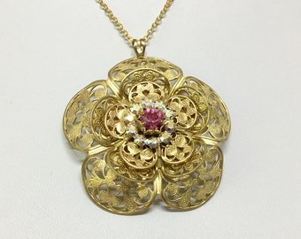 Brass Filigree Flower Pendant, Handcrafted, Swarovski Crystal, Five Layered Petals, Swarovski Crystal Flower, Goldtone  Chain