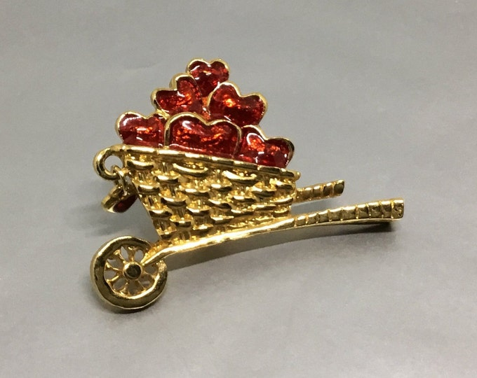 Wheelbarrow Filled with Hearts Tac Pin,  Vintage Brooch Pin, Red Hearts, Heart Dangle, Heart Jewelry