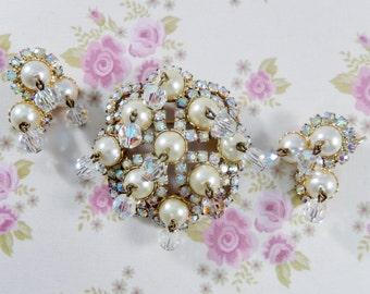 Vintage AB Rhinestones Faux Pearls  AB Crystal Beads Dangle Brooch Earring Set