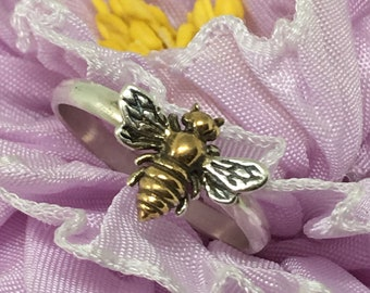 Bee Ring/ 14kt Gold Plated/ 925 Sterling Silver/ Honey Bee Ring/ Made USA/ Apiary Jewelry/ Dainty Bee Ring