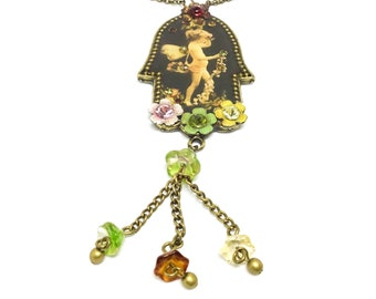 Michal Negrin Cupid Necklace, Vintage Necklace, Flower Dangles, Vintage Necklace