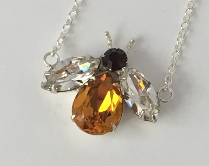 Handcrafted Honey Bee Necklace, Made with Swarovski Crystals, Honey Bee Jewelry