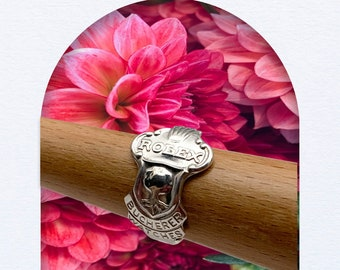 Handmade Silverplated ROLEX Souvenir Spoon Ring, LUCERNE, ROLEX Logo, For Man or Woman, Size 6