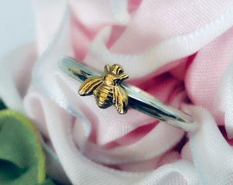 Handmade USA Tiny Bee Ring, 925 ring, 24kt Goldplated Brass Bee, Solid Sterling 925 Band