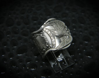 Handmade Vintage Indiana State Spoon Ring, Silverplated, Patriotic Eagle, For Men or Women