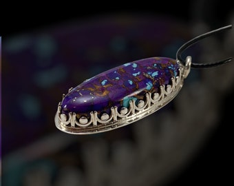 Handmade Kingman Purple Mojave Turquoise Pendant, Made in USA, 925 Sterling Silver