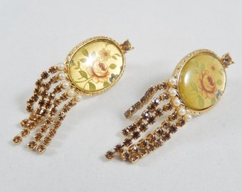 Vintage Floral Picture Clip Earrings, Picture Under Glass, Rhinestone Dangles, Vintage 1990