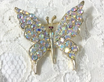 Vintage PELL Signed AB Rhinestone Butterfly Brooch