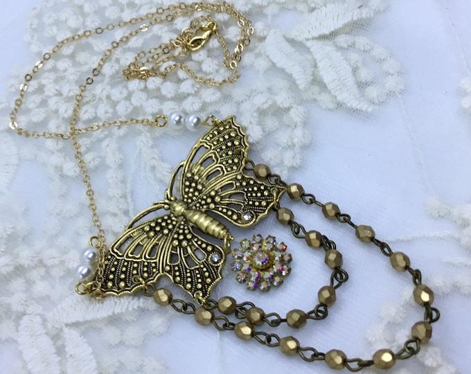 Butterfly Embellished Necklace/Antiqued Gold Brass/Swarovski Crystals