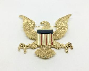 Vintage Large Goldtone and Enamel Eagle Brooch