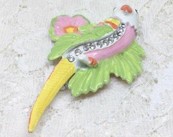 Vintage Pastel Enamel Rhinestone Flower Leaf Tropical Parrot Brooch Pin