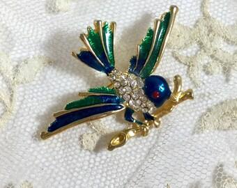 Vintage 1980s Enamel Rhinestone Figural Bird Brooch