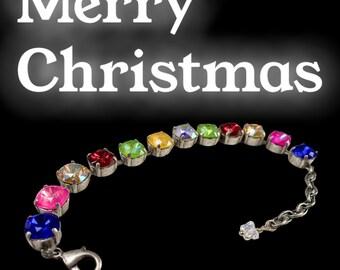 "Handmade Swarovski Crystal Bracelet, Multicolored, 6 1/2"" Length, Christmas Gift"