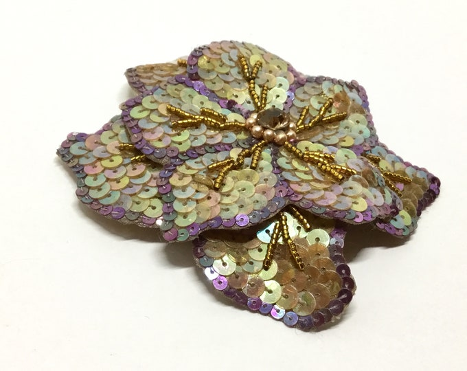 Vintage Sequin Flower Pin, AB Sequin Petals, Purple Sequin Outline, Curving Petals