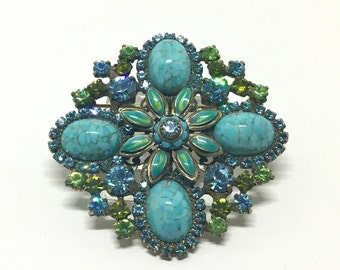 Vintage Carolee Faux Turquoise & Rhinestone Floral Brooch