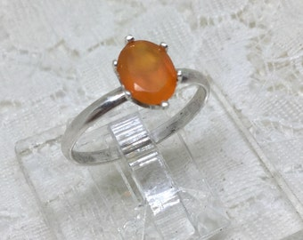 Handcrafted Sterling Silver Carnelian Gemstone Orange Ring Size 7 1/4
